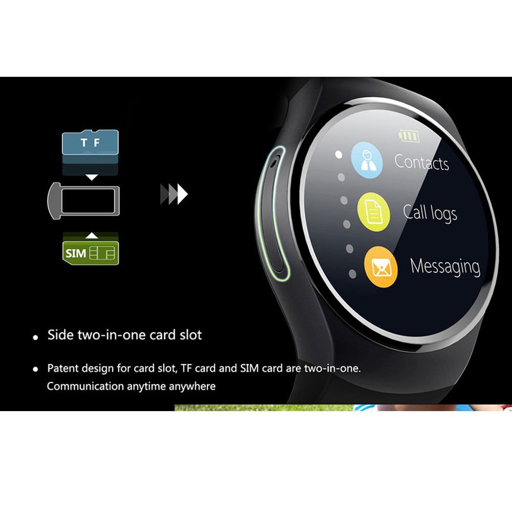 KingWear KW18 1 3 39 39 IPS Round Dial Smartwatch Phone SIM Card MTK2502 Pedometer Bluetooth 4 0 Heart Rate Monitor Sport Tracker in Smart Watches from Consumer Electronics