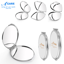 Pocket Mirror Portable Double Sided Magnifying Folding Makeup Stainless Steel Frame Compact Cosmetic Mini Purse Plain Collection