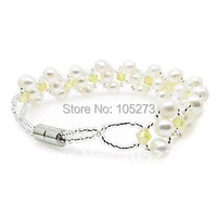 White Charmful Freshwater Pearl Bracelet Yellow Crystal Fashion Accessory Jewelry Magnet Clasp AAA 4 6MM 18cm New Free Shipping