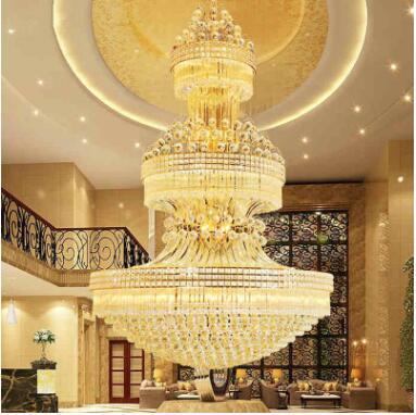 S or LED cristal lustre Duplex escalier hôtel hall club villa salon ingénierie éclairage 1.2 1.5 m
