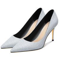 2019 LUIZA BARCELOS Christian Spring Pointed Toe Silver Gray Women High Heels Sexy 8.5CM Thin Heel Dress Wedding Shoes BXY007
