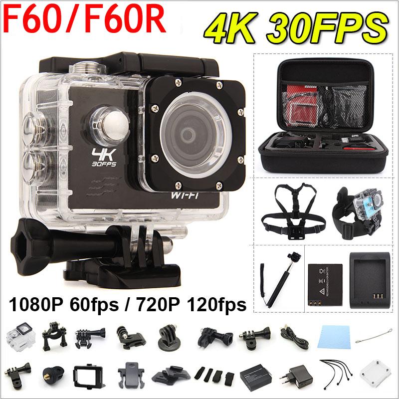 Prix pour RICH Gopro hero 4 style F60/F60R D'action caméra 4 K/30fps À Distance 16MP WiFi 170D Casque Cam 30 M étanche caméra De Sport