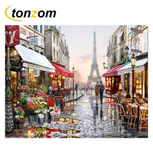 RIHE Paris Street Diy Painting By Numbers Shops Oil Cuadros Decoracion Lover Acrylic Paint On Canvas Modern Wall Art