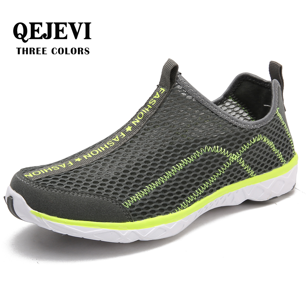 2018 QEJEVI Water Sport MEN Aqua Shoes Mesh sneakers Summer Outdoor Upstream Quick Drying Beach rubber beach Shoes Camping AQUA