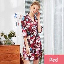 Womans Rob Set Silk Bathrobe Nightdress Robe Wedding Bride Pyjama Half Sleeve M-XXL Flower Sleepwear Female Nightwear Nightgown