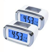Réveil numérique à piles, 2 pièces, rétro-éclairage, fonction Snooze, affichage à grands chiffres, calendrier