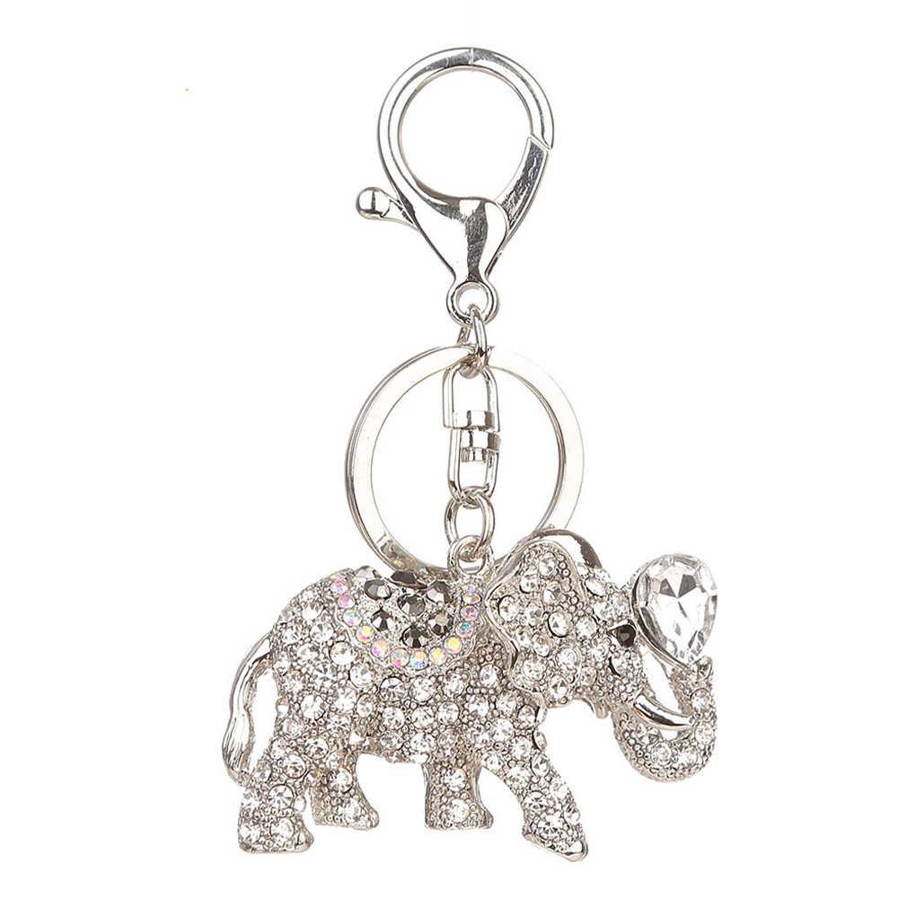 Elefante dos desenhos animados Rhinestone Embutidos Liga Keychain Animal de Cristal Chave Do Carro Chaveiro Anel Titular
