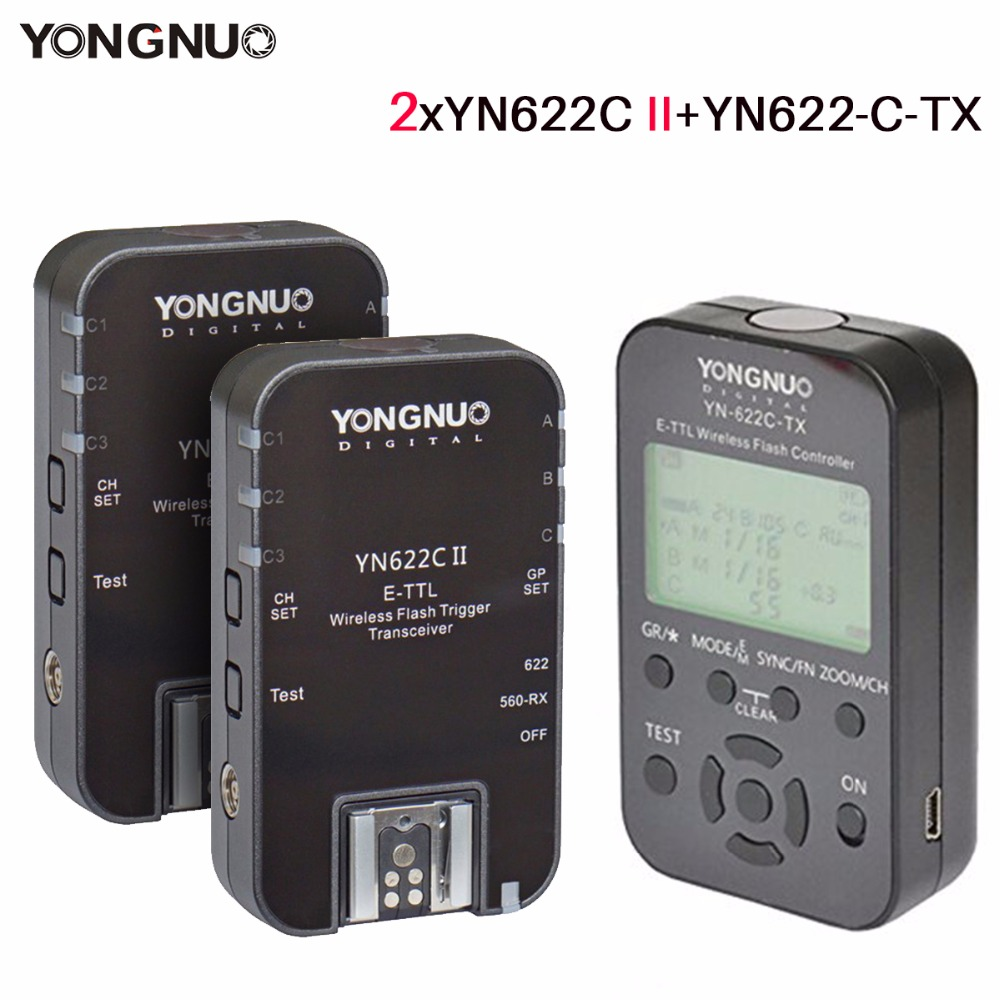 2pcs Yongnuo YN622C II Wireless Flash Trigger Transceiver w YN622C-TX E-TLL Flash Controller for Canon,YN568 YN685 YN600EX-RT II yongnuo yn600ex rt ii 2 4g wireless hss 1 8000s master ttl flash speedlite or yn e3 rt controller for canon 5d3 5d2 7d 6d 70d