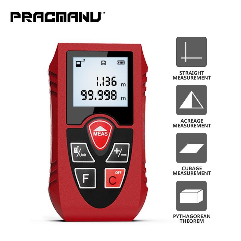 PRACMANU telémetro láser 40 M 60 M 80 M 100 M Digital láser metro de distancia de batería con láser dispositivo gobernante herramienta de prueba