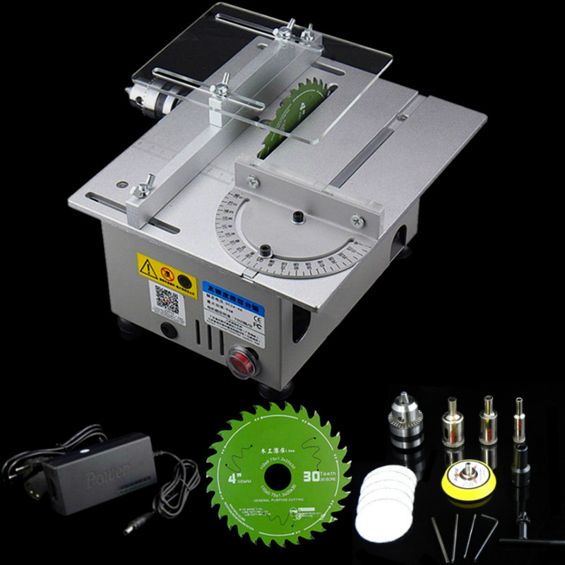 Aluminum Miniature Table Saw High Precision Cutting Machine DIY Model Saws Precision Carpentry Chainsaw Cutter DC24V max.7000RPM
