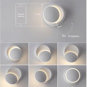 Image 5 - LED קיר מנורת 360 תואר סיבוב מתכוונן המיטה אור לבן ושחור creative מנורת קיר שחור מודרני מעבר עגול מנורה