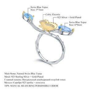 Image 5 - GEMS バレエ 925 スターリングシルバー手作り調整リング 2.42Ct ナチュラルスイスブルートパーズ支店リング女性のための