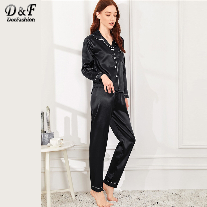 Image 3 - Dotfashion Black Button Letter Embroidered Satin Pajama Set 2019 Casual Pajamas For Women Spring Summer Long Sleeve Nightwear-in Pajama Sets from Underwear & Sleepwears