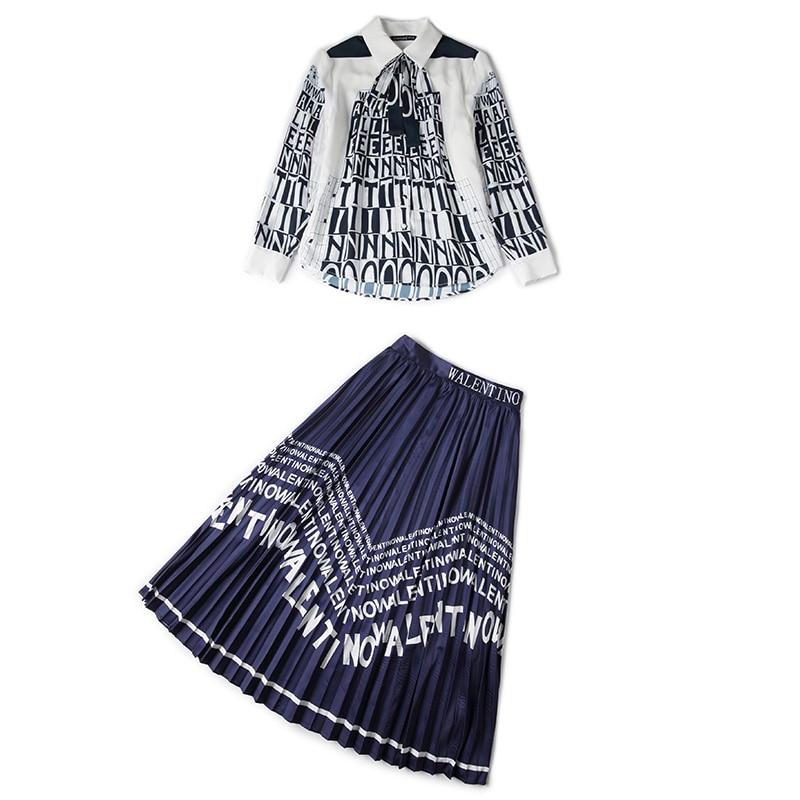 2019 Vêtements De Deux Jupes Jupe Chart Costumes Lettres Plissées Mode Chemise Suit Deux piece See Pièces Femmes Imprimée Tenues Ensembles tWwpp460qY