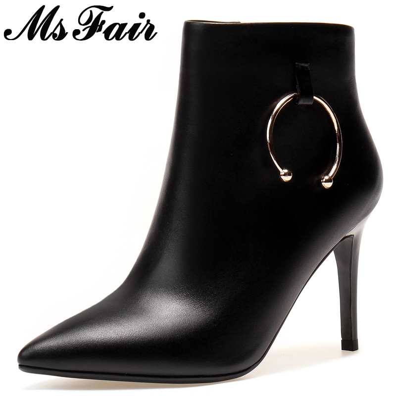 MsFair Pointed Toe Thin Heels Women Boots Fashion Metal Decoration High Heel Ladies Ankle Boot Winter Zipper Women's Boots Shoes fashion pointed toe lace up mens shoes western cowboy boots big yards 46 metal decoration