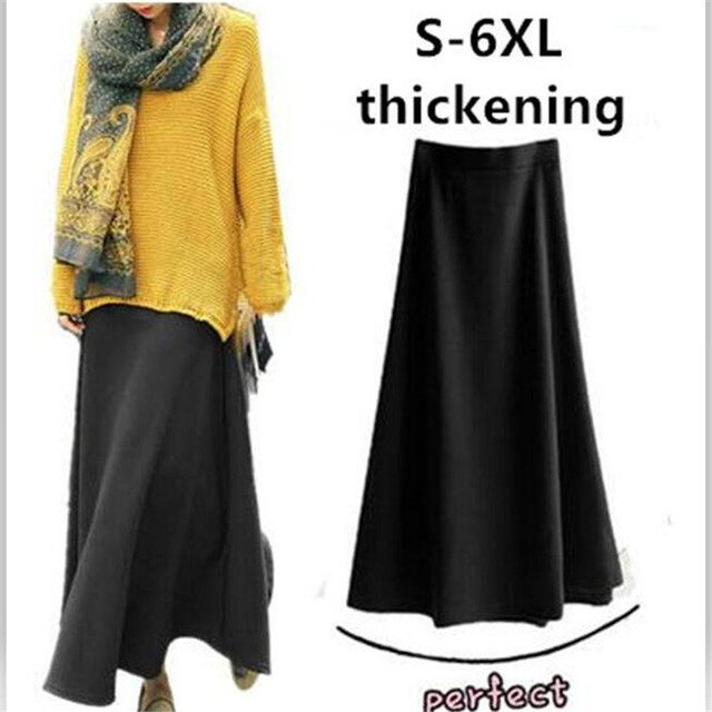 Осень-зима модные высокие эластичные Юбки для женщин, черный, серый, красный фиолетовый длинные юбки, большие размеры S-5XL 6XL утолщенной Теплая юбка