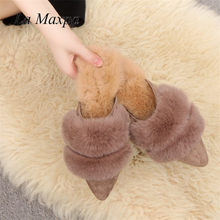 56e15f5ebe5e Mules Shoes Furry Designer Woman Flip Flops Pointed Toe Slippers Fur Pompom  Flats Heels Brand Slides