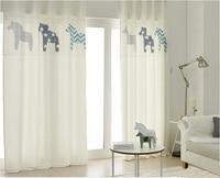 1x Drapery Panel Nursery Kids Children Room Curtain Window Dressing Covering 145 x 180cm 220cm 240cm 270cm Horse White