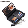 Free Shipping New Arrival Black Genuine Leather Business Case Wallet Credit Card Holder  For 11 Cards Hasp Coin Wallet  K855