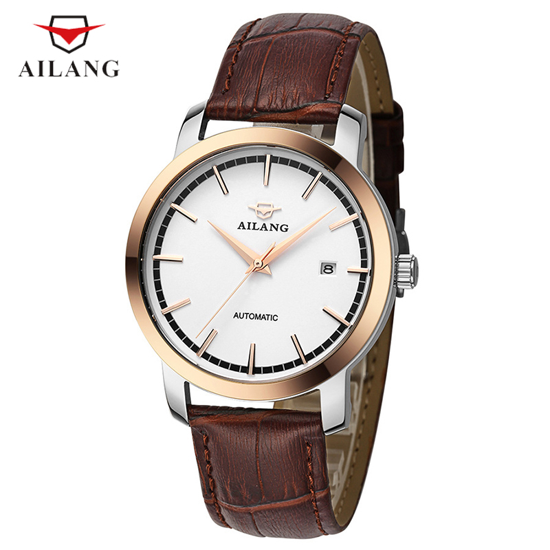 AILANG Men Luxury Brand Wristwatches Leather Black Gold Case Automatic Mechanical Wristwatches Men's Waterproof Watch A078 ailang men mechanical watch luxury brand waterproof automatic wristwatches men s stainless steel mechanical wristwatch a088