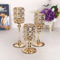 Wedding home party table European luxury gold plated silver plated glass candlestick crystal candle holder romantic decoration