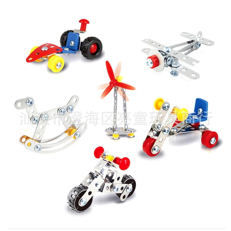 Zhenwe Technology Screwing Blocks Metal Assembled Aircraft Motorcycle 3D Stereo Model DIY Material Pack Car Plane Handmade Gift