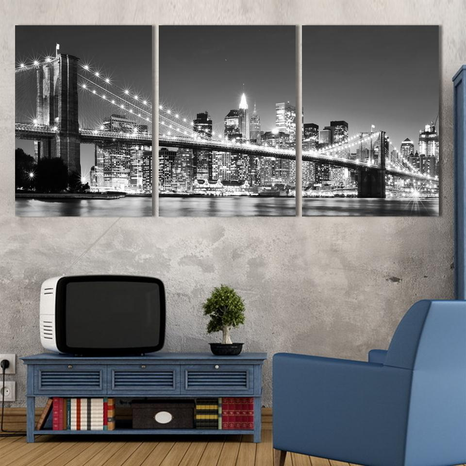 3 panels set modern wall art painting new york brooklyn bridge home decorative art picture prints on canvas for living in painting calligraphy from home