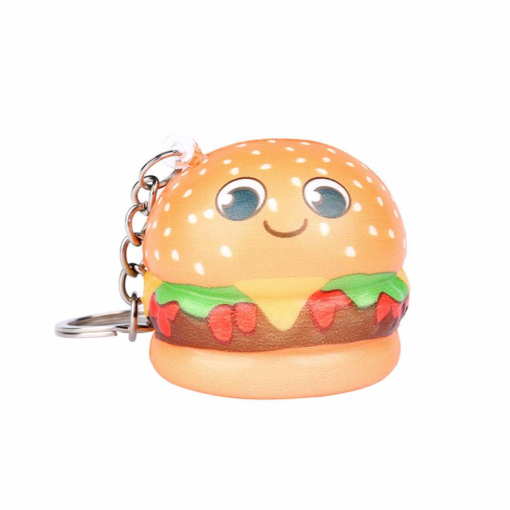 Serrer doux Squishies Kawaii dessin animé Hamburger lente augmentation crème parfumée porte-clés jouets anti-Stress cadeau drôle Z0325
