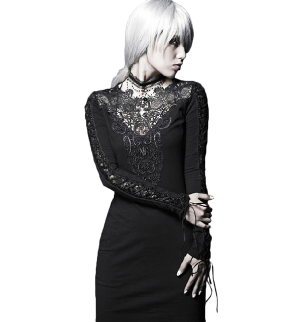 52e96e152c3a Punk Women s Sexy Hollowed Lace Dress Casual Special Occasion Bodycon Dress  Long Sleeve Black Midi Dress