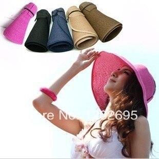 Лето женщин Складной Beach Sun Hat Соломы Пляж Cap Для Дам