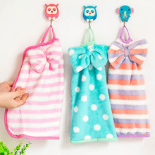 New Bow Hanging Towel Coral Fleece Kitchen Cloth Off Super Absorbent Soft Velvet Towel Free Shipping
