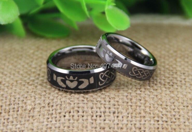 8mm cz silver celtic dragon tungsten carbide ring men wedding bands