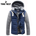 TANGNEST Hot Selling 2017 Men's Fashion Simple Casual Warm Coat Jacket Detachable Cap High Quality Plus Big Size M-5XL MWM347
