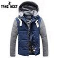 Tangnest venda quente 2017 da forma dos homens simples casuais jaqueta casaco quente tampa destacável de alta qualidade além disso big size m-5xl mwm347