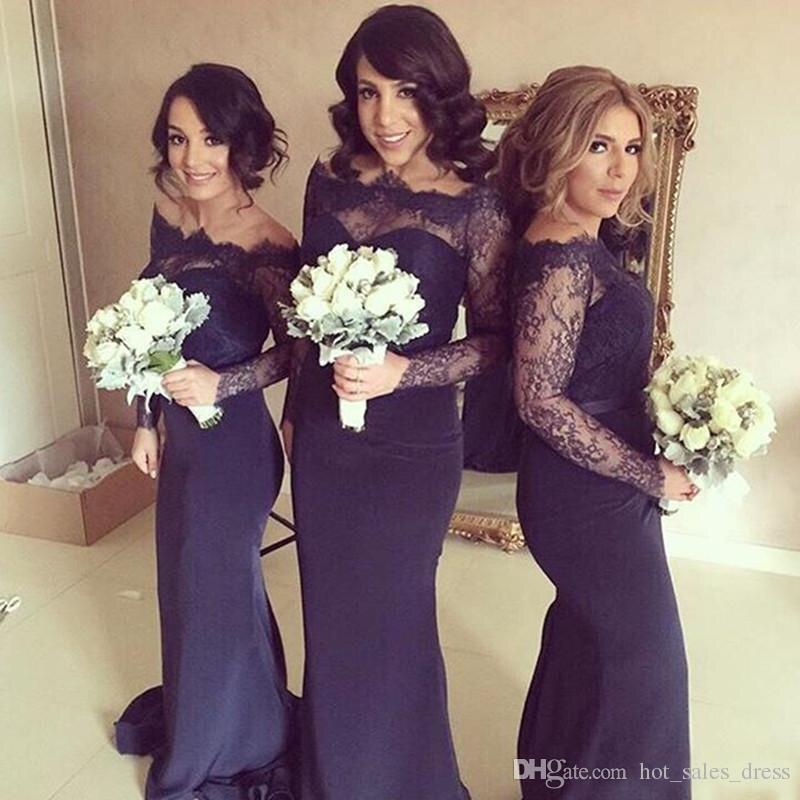 Popular Bridesmaid Long Sleeved Dress-Buy Cheap Bridesmaid Long ...
