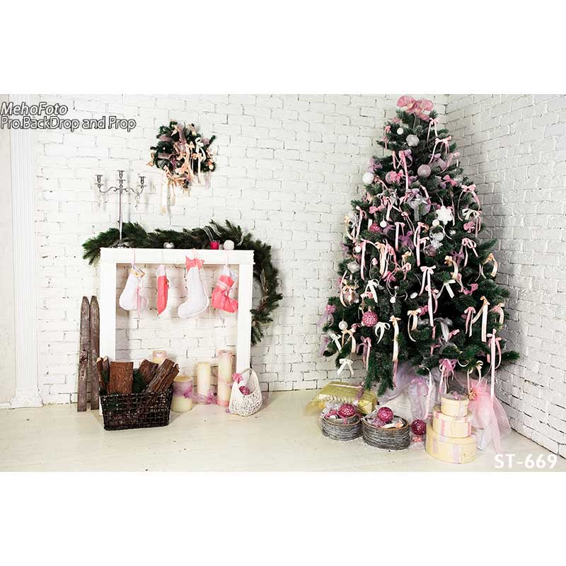 Christmas background vinyl photography backdrops Computer Printed christmas fire place tree and Gift box for Photo studio ST-669 1 1 5m vinyl photography background christmas computer printed custom photography backdrops for photo studio photo backgr