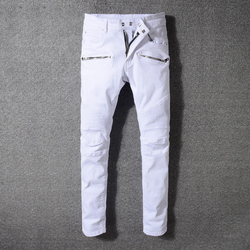 2018 High Street Fashion Men's Jeans White Color Hip Hop Jeans Men Elastic Punk Pants Brand Designer Splice Biker Jeans Homme men elastic foot drawstring jeans