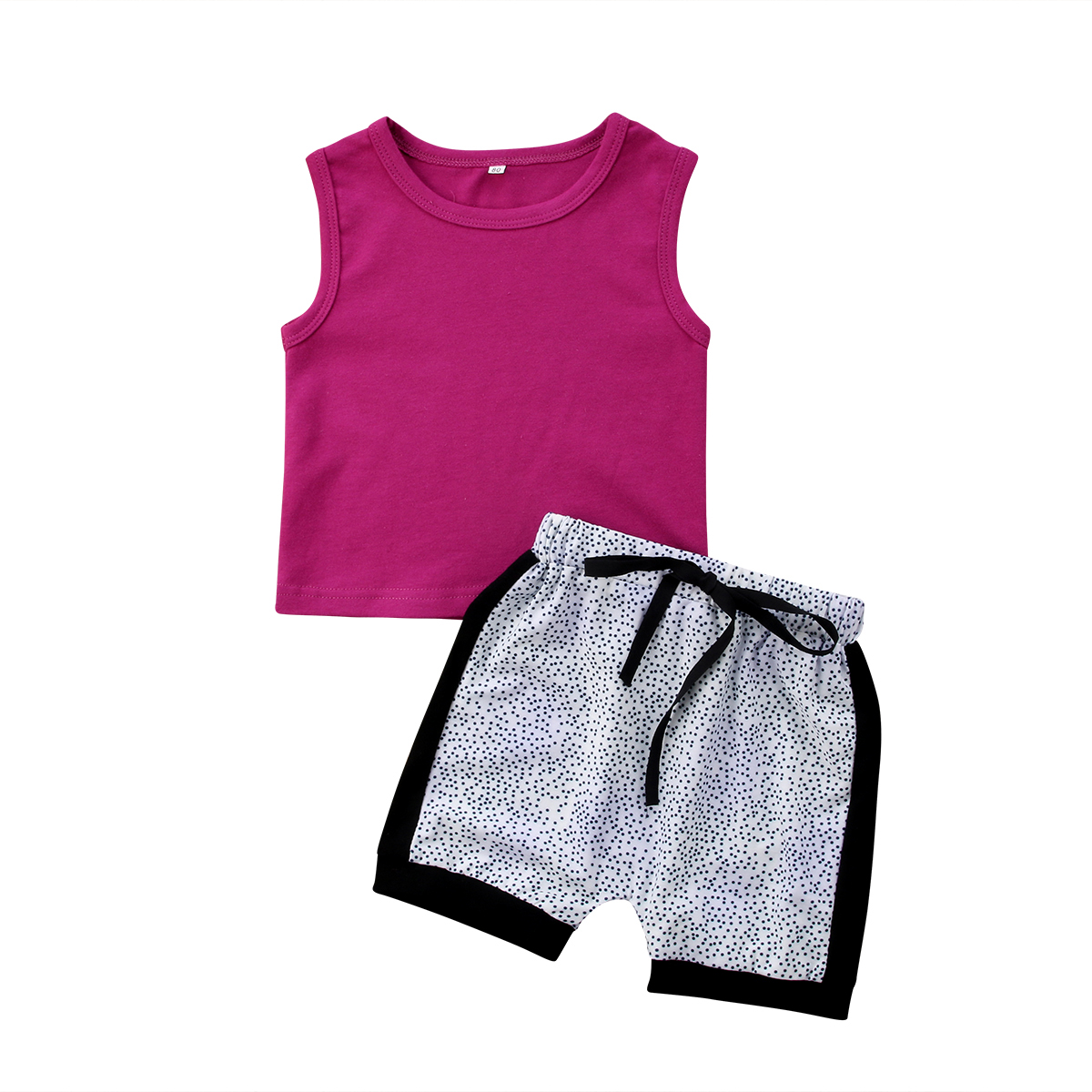 2Pcs Casual Kids Baby Girl Vest Tops Spot Straps Shorts Panties Clothes Summer Outfits Costumes Cothing Sets 1-5T ...