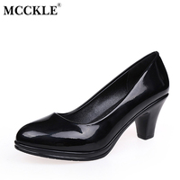 MCCKLE Female Fashion Patent Leather Slip On Black Style Two With High Shoes 2017 Women S