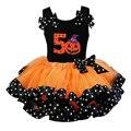 Falda del tutú de pettiskirt princesa danza de halloween cinta de la muchacha mini falda del tutú de 8 t de la muchacha del niño orange balón vestido de pettiskirt