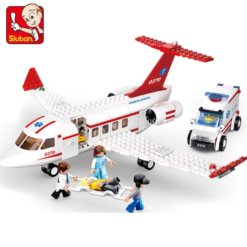 Sluban B0370 335pcs Aviation City Aircraft Medical Air Ambulance Bricks Building Block Sets Educational Toys For Children kazi city rescue model ambulance corps bricks brinquedos intelligence develop toys for children 6 ages 199pcs 85010