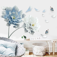Large White Blue Flower Lotus Butterfly Removable Wall Stickers 3D Wall Art Decals Mural Art for Living Room Bedroom Home Decor