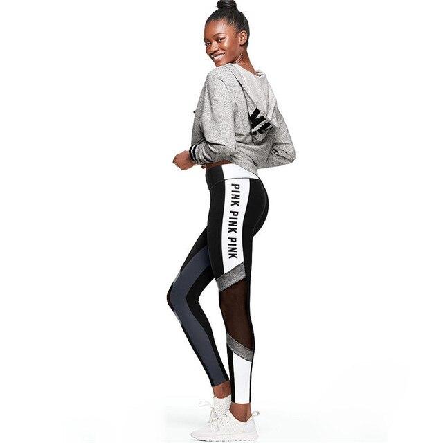 2018 Lettere Stampa Patchwork Donne Sportive Leggings Per Le Donne di Moda  A Vita Alta Push e0fbc992aef