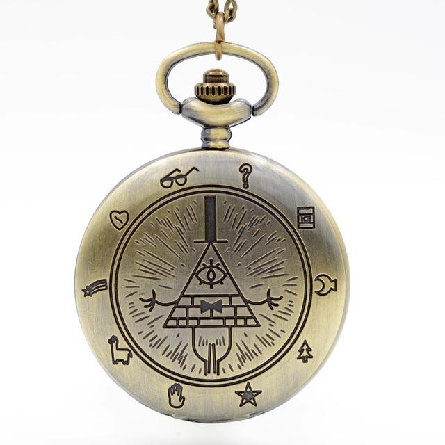 Retro Vintage Bronze Bill Cipher Gravity Falls Quartz Pocket Watch Analog Pendan