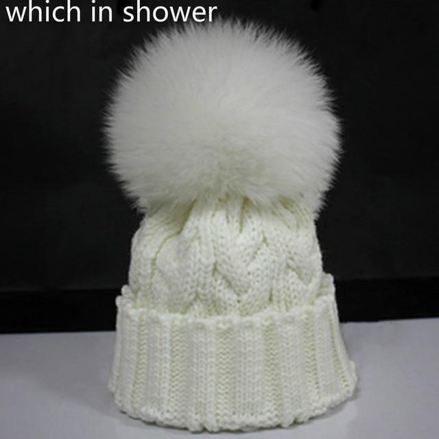 aaaa2a8ea20 which in shower Real Mink Fur Pom Pom Hat For Children Warm Knit Fox Fur  Pompom Ball Kids Winter Beanie Hat For Boy Girl Ski Cap