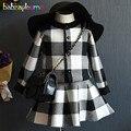2 PCS/2-6Years/Primavera Outono Do Bebê Meninas Outfits Crianças Roupas Xadrez Preto Knit Cardigan Casacos + Saia Crianças Conjuntos de roupas BC1419