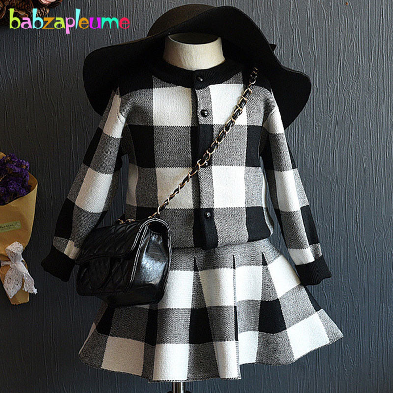 2PCS/2-6Years/Spring Autumn Baby Girls Outfits Kids Clothes Black Plaid Knit Cardigan Coats+Skirt Children Clothing Sets BC1029