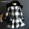 2PCS/2-6Years/Spring Autumn Baby Girls Outfits Kids Clothes Black Plaid Knit Cardigan Coats+Skirt Children Clothing Sets BC1419