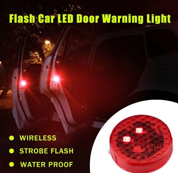 2pcs Car LED Door Opened Signal Warning Strobe Light Wireless Flash Decorative Indicator Hit Avoid Lamp Red