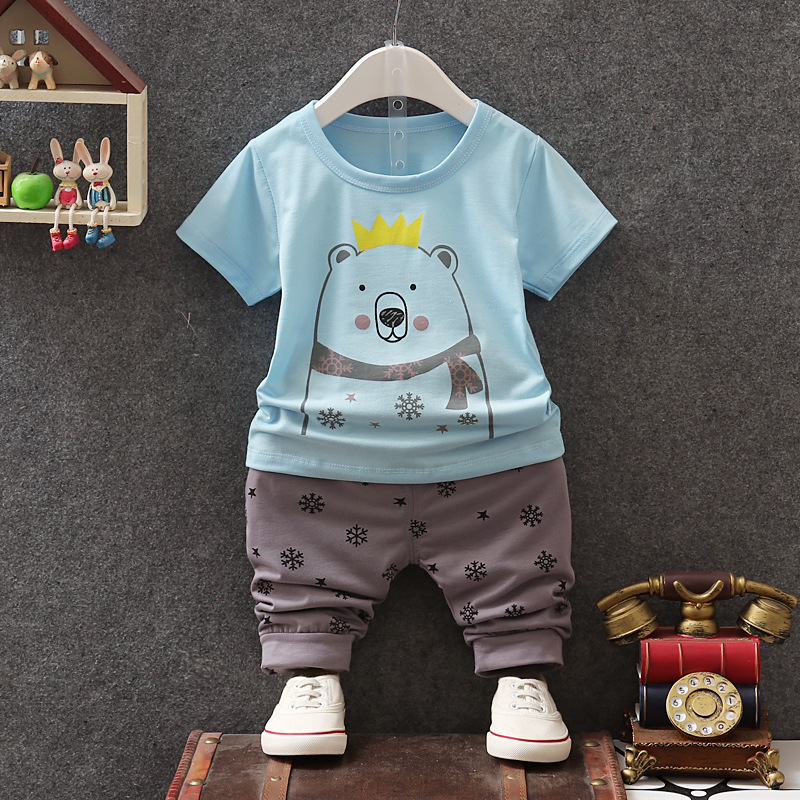 Children Clothing Set summer Casual Kids boys T-shirt+ Pants 2pcs Suit Newborn Baby Boys Clothes Set For 1-4T Boy Suits Outfits baby boy clothes monkey cotton t shirt plaid outwear casual pants newborn boy clothes baby clothing set